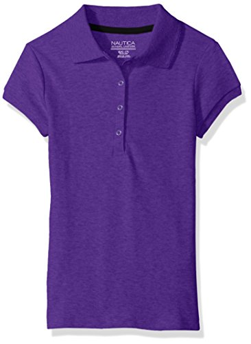 Nautica Girls' Short Sleeve Polo,Purple,Medium(5) (Girls Purple Uniform Shirt)