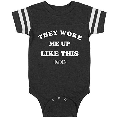 They Woke Me Up Hayden: Infant Rabbit Skins Football Bodysuit
