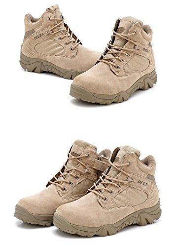 Hombre Militar de Tactical Deportes al aire libre de senderismo trabajo Combat Lace Up transpirable zapatos de cremallera en la parte superior Desert Piel Bajo Botas de Tan Caqui 4