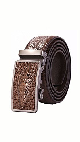 Alligator Crocodile Dress Belt Embossed Genuine Leather Automatic Buckle (Fits up to 44