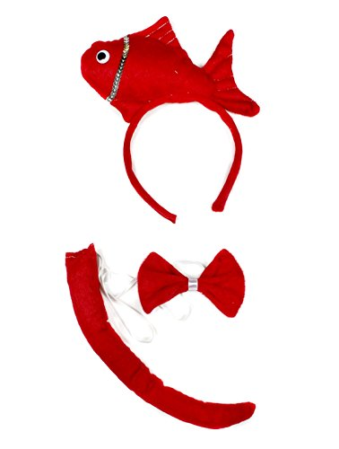 Fish Headband Costume (Ocean Red Fish Headband Bowtie Tail 3pc Children Costume Halloween or Party)