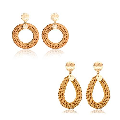 Rattan Earrings For Women Girls Handmade Lightweight Wicker Straw Shell Earrings Statement Weaving Braid Drop Hoop Earring Set (2pairs)