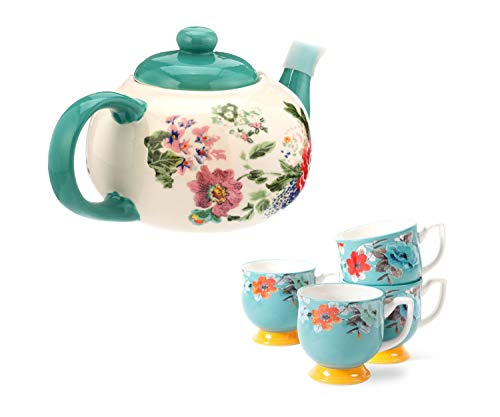 The Pioneer Woman 1-Piece Country Garden Teapot bundle with The Pioneer Woman 4-Piece Flea Market, 15-oz, Footed Decorated Mugs, Turquoise & Yellow