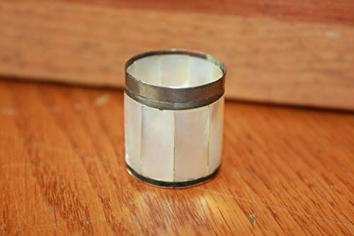 Plated Toothpick - Mother of Pearl cup Mini cup toothpick holder silver plated rim Vintage handmade