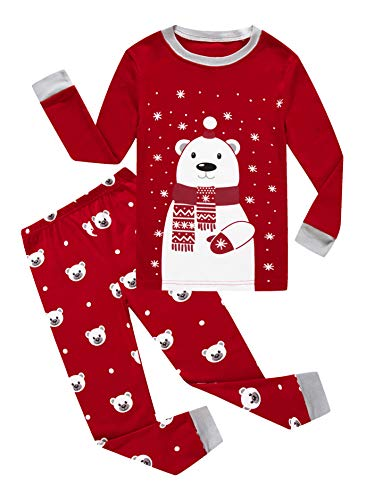 (Family Feeling Little Girls Boys Long Sleeve Christmas Pajamas Sets 100% Cotton Pyjamas Toddler Kids Pjs Size 4T)