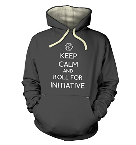 Keep Calm And Roll For Initiative Hoodie (premium) - Graphite XX Large (51