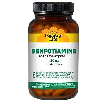 Country Life - Benfotiamine con el magnesio de la coenzima 150 B1. - 60 cápsulas vegetarianas: Amazon.es: Salud y cuidado personal