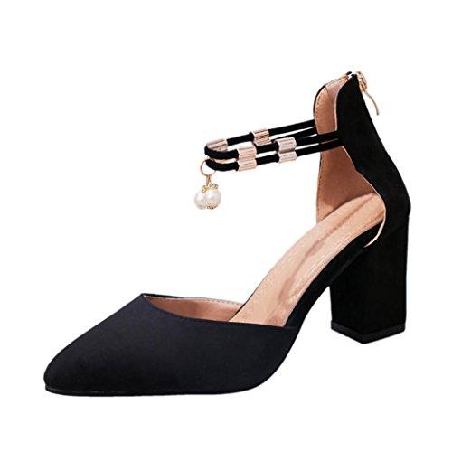 Femmes Dames Anneau Sandales Noir Momola Talon Métal Pied Rugueux Strass De Haut Chaussures Zipper En Talons Toe Avec Pointu Loisirs qfE1wZdE