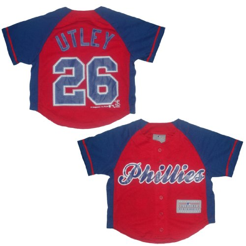 PHI Phillies Utley #26 Boys Button Down Baseball Jersey XS(4/5) Red & Blue