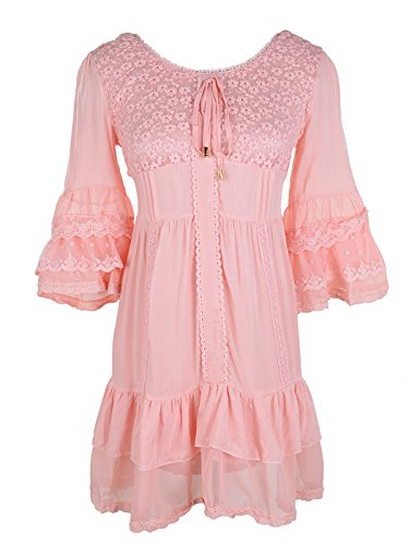 Romantic Dress Ruffle (Anna-Kaci Womens Boho Peasant Floral Lace Ruffle Hem Bell Sleeve Mini Dress, Pink, X-Large)