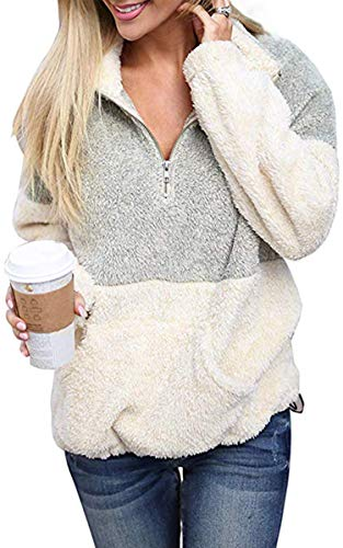 Angashion Womens Long Sleeve Half Zip Fuzzy Fleece Pullover Jacket Outwear Sweatshirt Tops Coat with Pocket Grey M