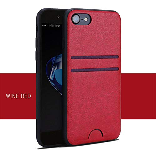 Luxury Leather Card Holder Wallet Phone Case for iPhone Xs MAX XR XS X 8 7 6 6s Plus Back Cover Slim PU Shell for Apple 10,Wine Red,for iPhone Xs ()