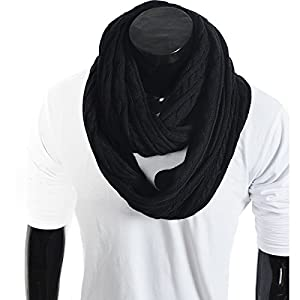 Forbusite Stylish Men Cable Soft Knit Infinity Scarf
