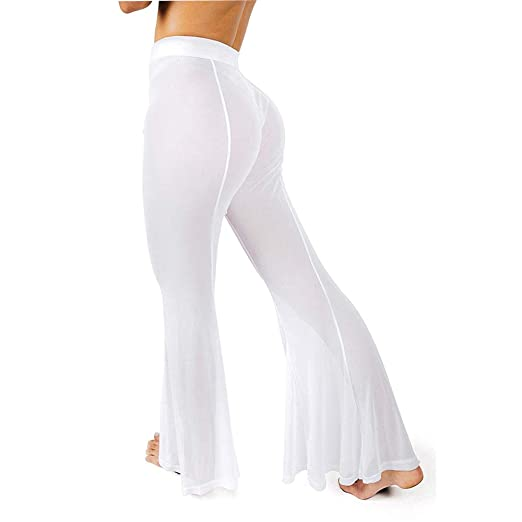 09bf32d8ab Multitrust Sexy Women See Through Mesh Sheer High Waisted Swimsuit Cover Up  Pants Bathing Suit Bottom