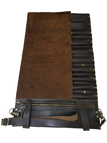 Professional Chef Bag Lightweight Genuine Premium Dark Brown Leather 10 Pockets Knife Bag/Chef Knife Roll with Buckles by luvsecretlingerie