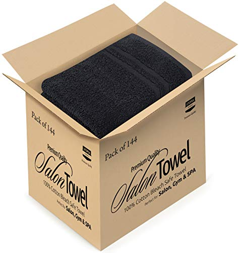 Utopia Cotton Black Salon Towels - (Pack of 144) - (16 inches x 27 inches) by Utopia Towels (Image #1)