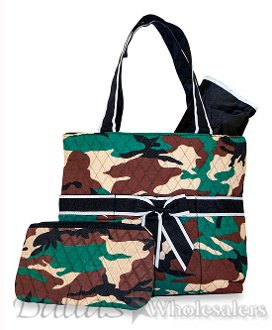 Ever Moda Green Camouflage Print Quilted Diaper Bag