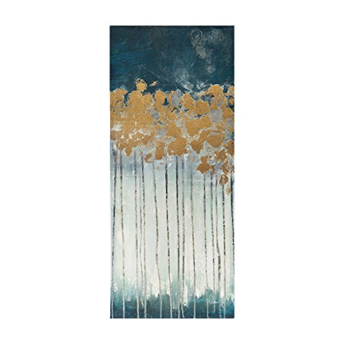 t Forest Abstract Hand Embellished Teal Canvas Wall Art 15X35 3 Piece Multi Panel, Transitional Wall Décor ()