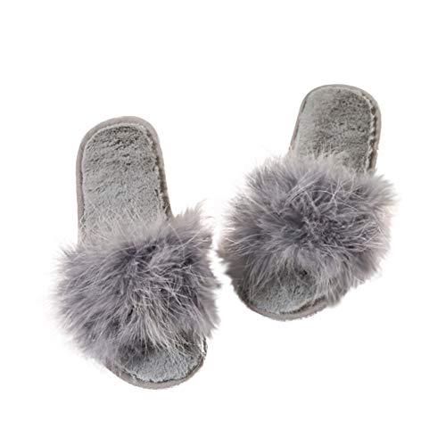 Out Intérieur Grey décontractée antidérapantes LEACK plats Sandales à talons fourrure Soft Fluffy Faux Sandales q7gZqPwO
