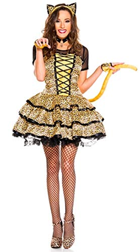 Simmia Halloween Costumes Leopard cat Girl Dress with Tail Nightclub ds Stage Costume, 3341, XL ()