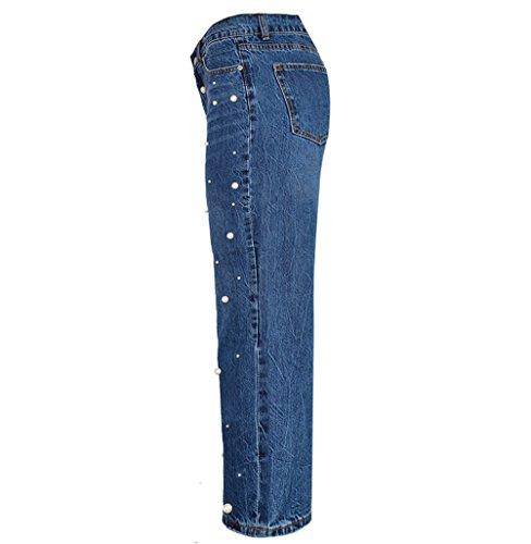 Boyfriend Haute Coton Large Femme avec FuweiEncore Pantalon Taille Bleu Droite Stretch Coupe Perles Flare Jean Jean en Xq5Zwz8