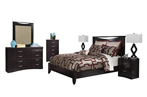 Ashley Zanbury 6PC Queen Panel Bedroom Set With Two Nightstand & Chest In Merlot -