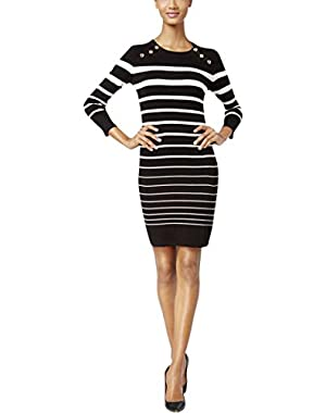 Calvin Klein Womens Striped Metal Button Sweaterdress