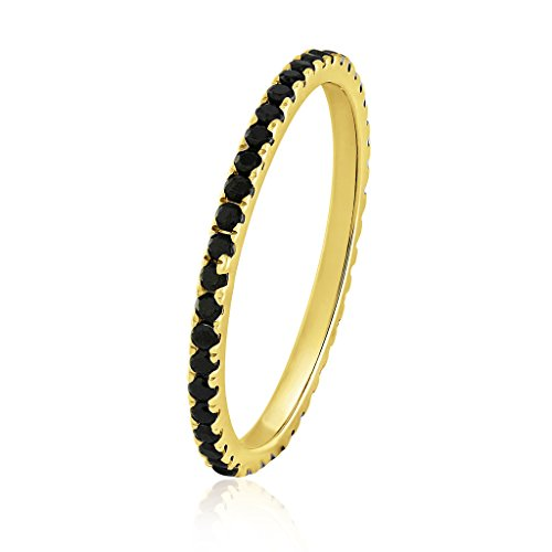 Bands Eternity Black Gold - 0.40 Ct.Round Natural Black Diamond Bridal Collection 14K Yellow Gold Eternity Wedding Band for Women