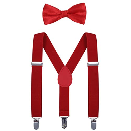 Kids Suspender Bow Tie Sets - Adjustable Braces With Bowtie Gift Idea for Boys and Girls by WELROG(Red) for $<!--$12.99-->