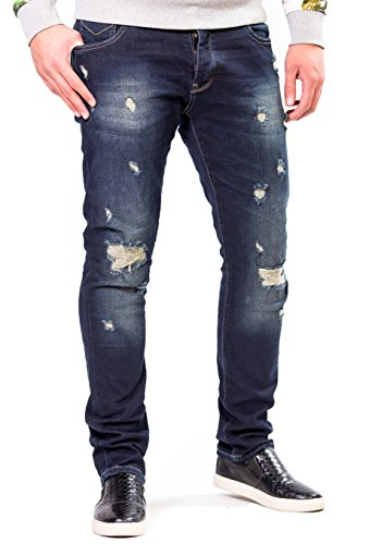 2Y - Premium Herren Jeanshose Straight Fit Destoyed Blue Jeans
