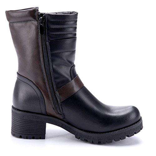 Schuhtempel24 Damen Schuhe Boots Stiefel Stiefeletten Blockabsatz Schnalle 5 cm Schwarz