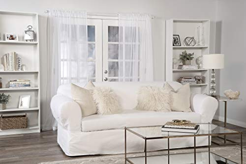 Classic Slipcovers Pillow - Classic Slipcovers WDEN2PC10WHT Sofa slipcover, 2 Piece, Separate Cushion Cover, Pure White,