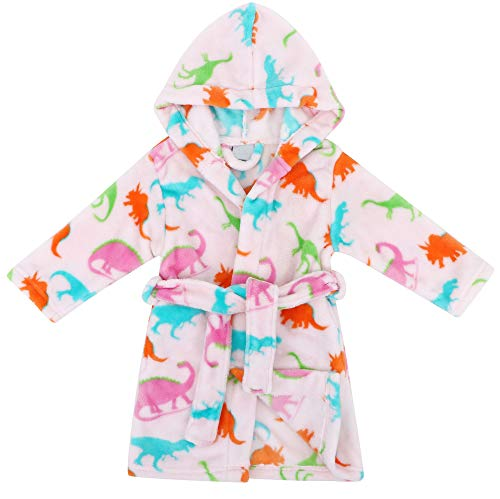 (Verabella Boys Girls' Fleece Printed Hooded Beach Cover up Pool wrap,Dinosure,S)