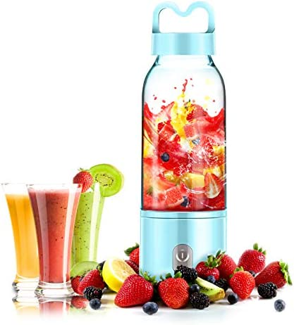 YesTree Portable Blender, Small Smoothie Blender – 4 Blades,17oz 500ml Fruit Mixing Machine with 4000mAh USB Rechargeable Batteries, Larger Stronger and Faster,Detachable Cup Blender, Blue FDA BPA free