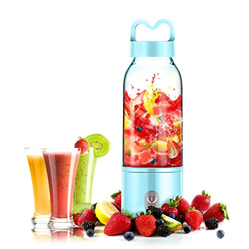 YesTree Portable Blender, Small Smoothie Blender - 4 Blades,17oz/500ml Fruit Mixing Machine with 4000mAh USB Rechargeable Batteries, Larger Stronger and Faster,Detachable Cup Blender, Blue (FDA BPA fr