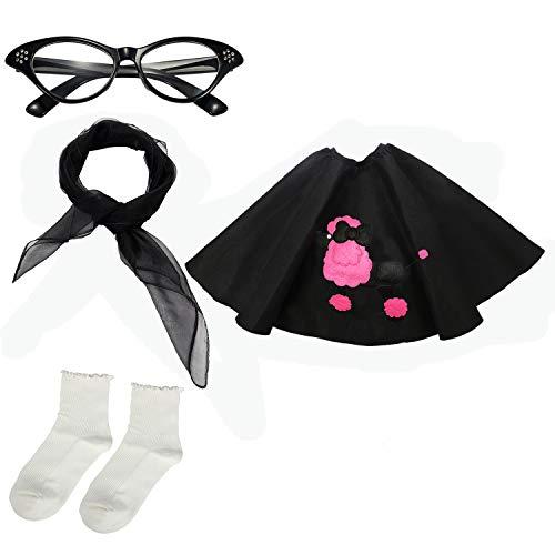 Girls 1950s Costume Accessory Set - Poodle Skirt, Chiffon Scarf, Cat Eye Glasses,Bobby Socks -