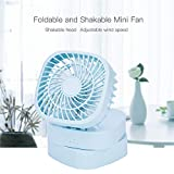 DeemoShop Mute Foldable Personal Fan Portable Desktop Mini Fan Electric Hand Bar Fan USB Rechargeable Rotatable Cooling Fans for Laptop