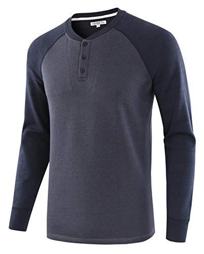 (HARBETH Men's Casual Soft Fleece Baseball Henley Sweatshirt Pullover Sweater Cadet Blue/Navy S)