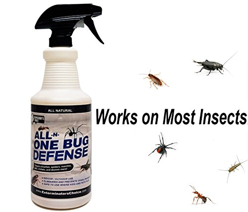 Exterminators Choice All-N-One Bug Defense Natural Spray, Roaches, Ants, Silver Fish, Crickets, Spiders, Beetles, Fleas & Ticks, Insect Repellents & Killer Spray, 32 oz