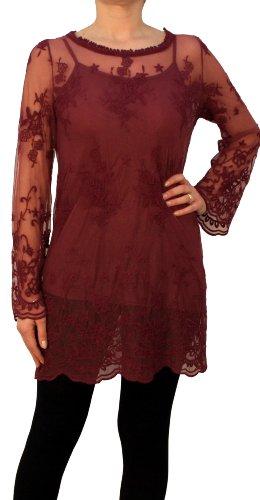 Saxx - Vestido - para mujer rojo burdeos