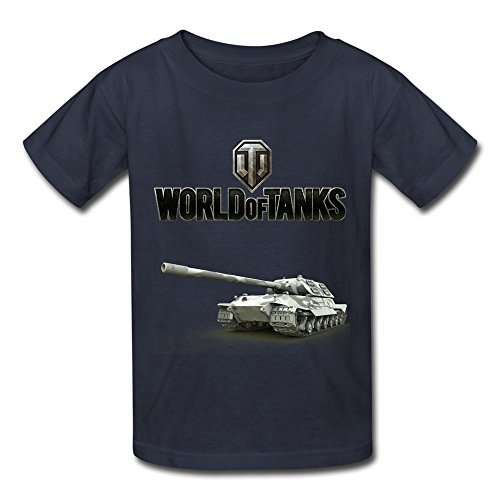 Price comparison product image QMY Kid's Vintage World Of Tanks WoT Logo T-shirts Size S Navy
