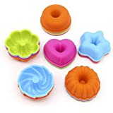 LetGoShop Silicone Molds for Muffin, Reusable Cupcake Liners Donut Pans,Non-stick Baking Cups 6 Shapes,Heart, Stars, Flower, Round, Pumpkin, Spiral 24pcs colorful