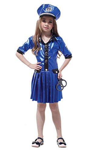 stylesilove Little Girls Police Officer Halloween Costume Party Dress (XL/10-12 Years, Blue Police Officer)