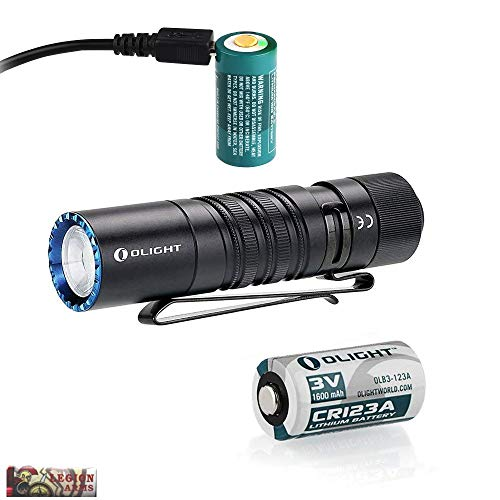 - Olight M1T Raider Rechargeable Bundle 500 lumens Tail Cap Switch EDC LED Flashlight, High/Low beam, with CR123A and Rechargeable RCR123A Battery, USB Charging cord