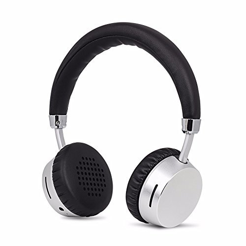 Wireless Headphones Bluetooth on Ear by Meidong Kids Headset with Mic Portable Lightweight 8hs Playing Time Headphone for Smartphone Tablet Men Kids Girls Silver