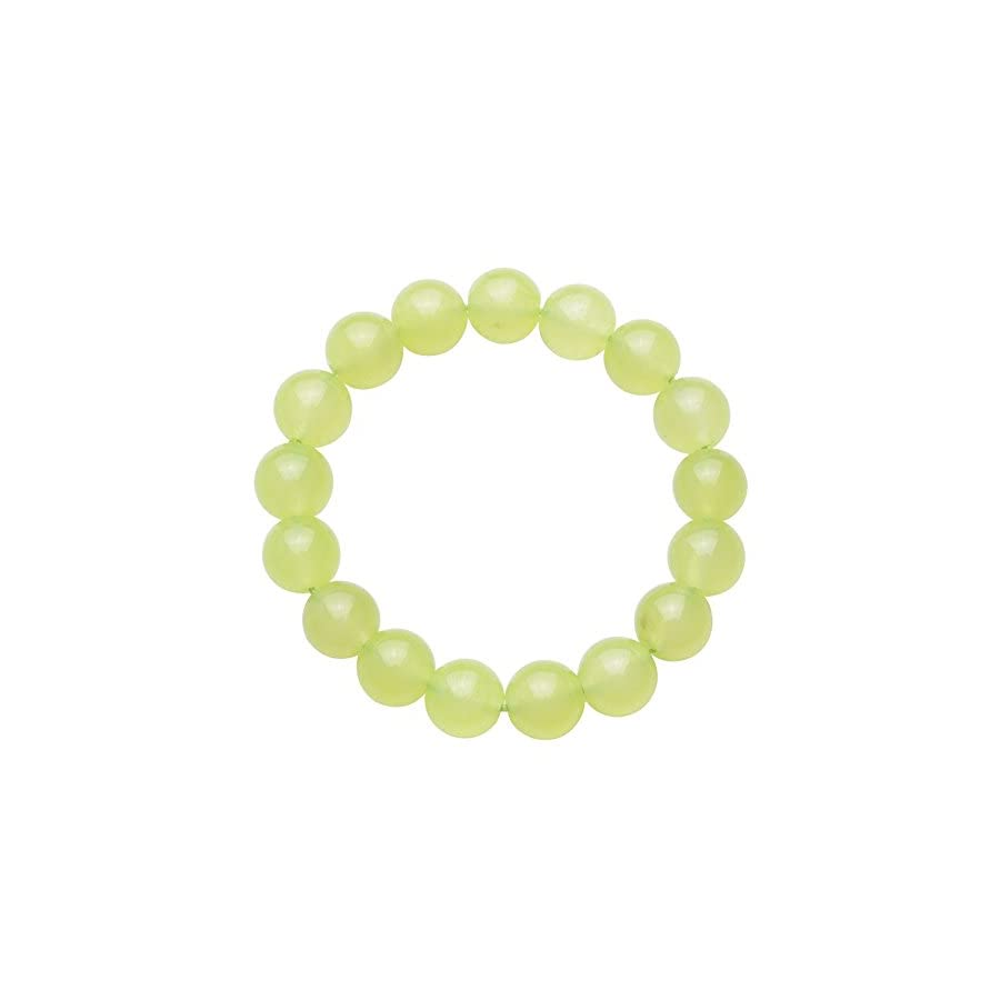 Jan Dee Natural Genuine Semi Precious Healing Power Prehnite Chalcedony Crystal Bracelet Elastic