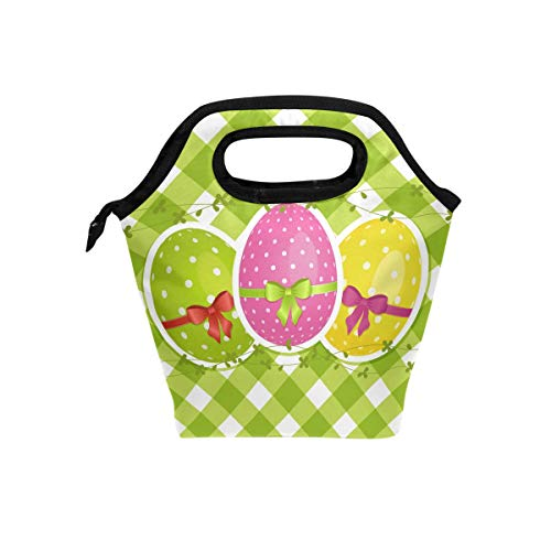 WIHVE Insulated Lunch Bag for Kids Women and Men, Easter Eggs On Green Gingham Border Reusable Soft Lunch Tote for Work and School