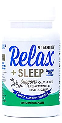 Relax + Sleep Pills - Stress & Anxiety Support Capsules Helps Restful Sleep - Relaxation Supplement Blended with Melatonin, 5-HTP, Chamomile, Vitamins, Ashwagandha and L-Theanine
