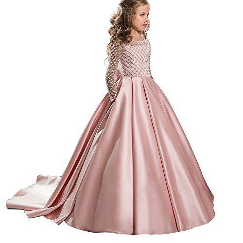 Christmas Fancy Flower Girl Dress Floor Length Button Draped Pink Long Sleeves Tulle Ball Gowns For Kids Pink Size 6