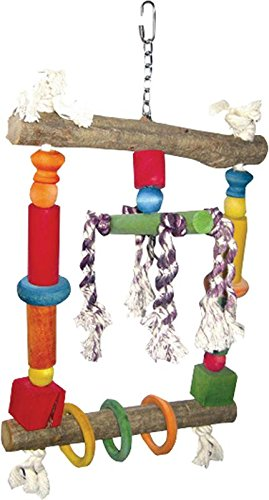 A&E CAGE COMPANY HB117 Happy beaks wood swing with Rope Assorted Bird Toy, 10 by 19